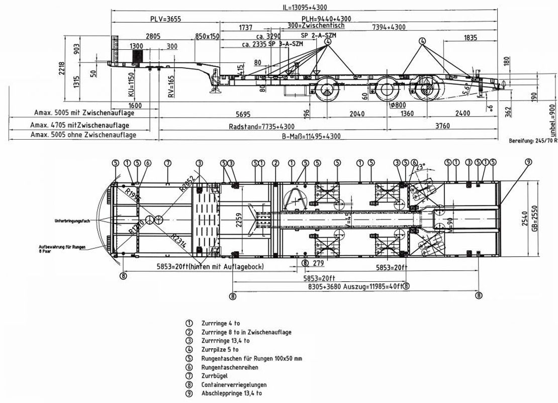 "semi dieplader oplegger Meusburger 3-Achs-Tele-Semi-Auflieger Industrie ""Roadrunner"""