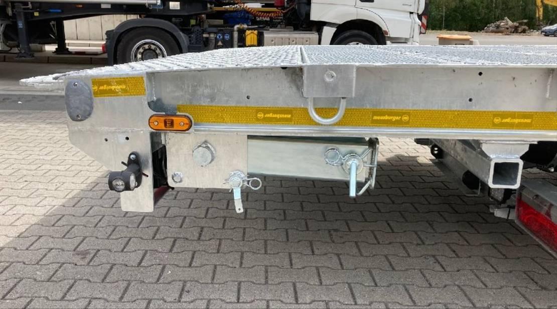 semi dieplader oplegger Meusburger 3-Achs-Semi-Auflieger mit abklappbarem Heck