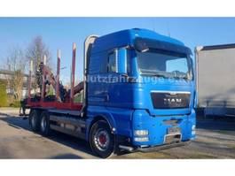 houttransporter vrachtwagen MAN TGX 26.540, 6x4 mit Heckkran HIAB 120S 2013