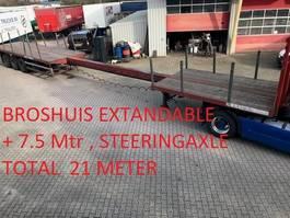 platte oplegger Broshuis Staal trailer , 7.5 mtr uitschuif  , stuuras , dik randprofiel , rongen 1995