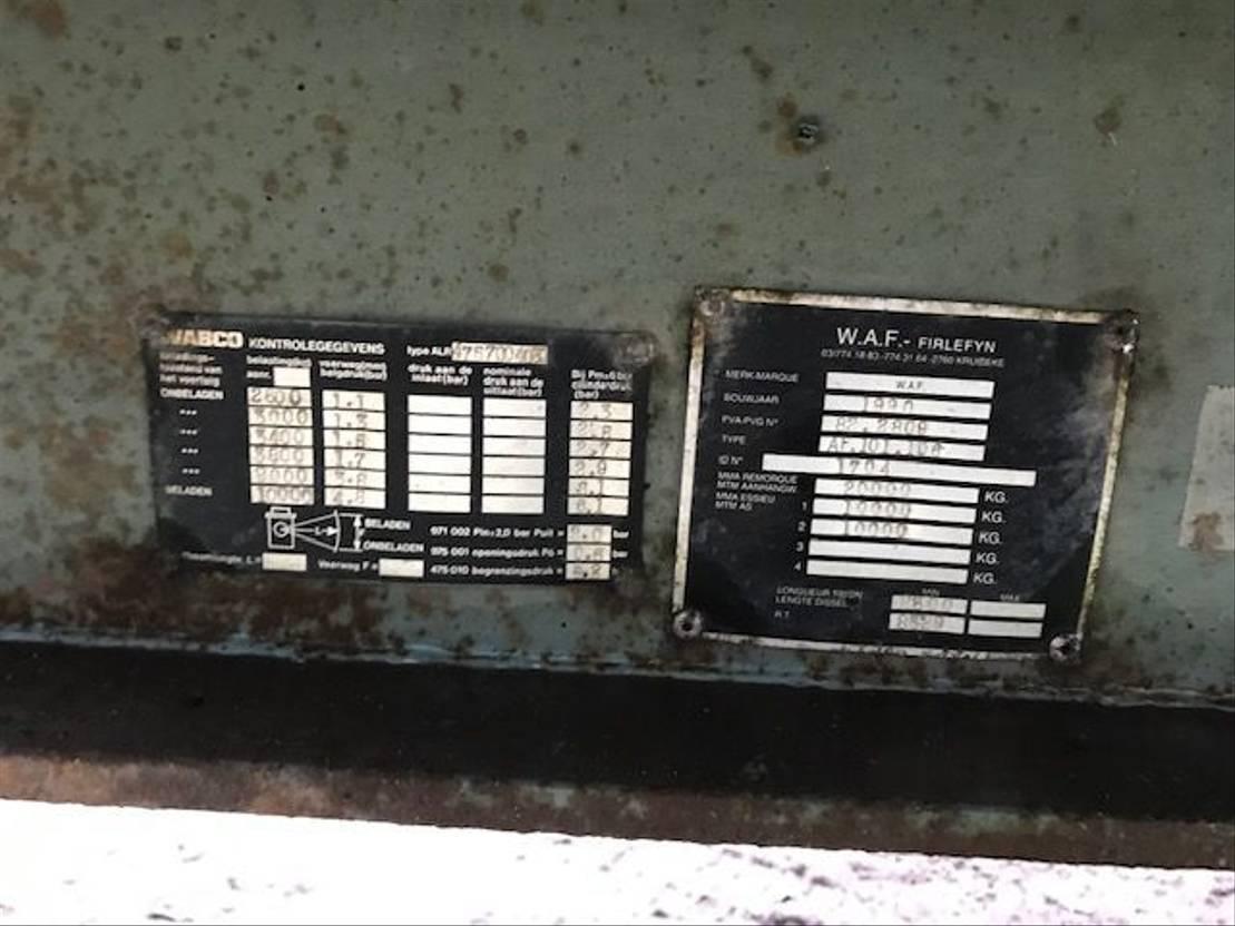 kipper aanhanger WAF Platte wagen & kipper 1990