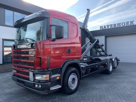 containersysteem vrachtwagen Scania 124 G 420 6x2 Meiller Hooklift lift/steering axle 2004