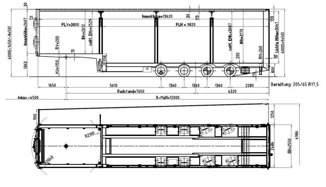 semi dieplader oplegger Meusburger 4-Achs-Jumbo-Sattelauflieger mit Planenaufbau 2018