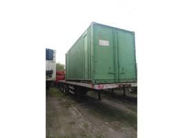 schuifzeil oplegger Fruehauf Tri axle trailer on springs with twist locks for containers. 1987