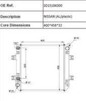 koelsysteem equipment onderdeel Nissan (AL/PLASTIC) radiateur
