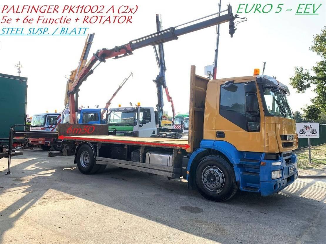 open laadbak vrachtwagen Iveco STRALIS AD 190S42 + KRAN PALFINGER PK11002 A - *EEV* - STEEL SUSPENSION / BLATT / LAMES 2010