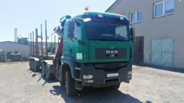 houttransporter vrachtwagen MAN TGA 33.440 6X6 BL Holzkran Epsilon +  Anhänger 2007