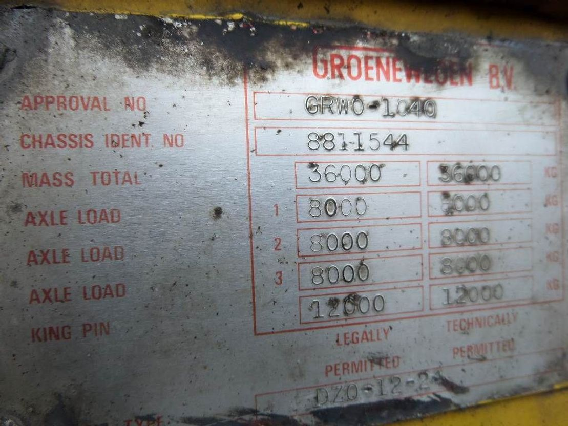 semi dieplader oplegger Groenewegen 3 axle 1990