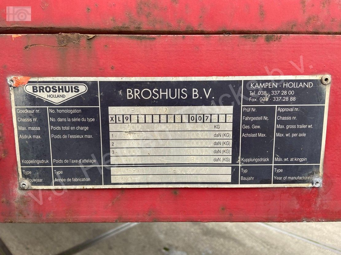 semi dieplader oplegger Broshuis 31N5-EU   3x SAF   6.3m Extendable 2000