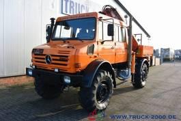 open laadbak vrachtwagen Unimog U5000 L 4x4 DoKa Atlas Kran 120.2E 12m=750kg AHK 2007