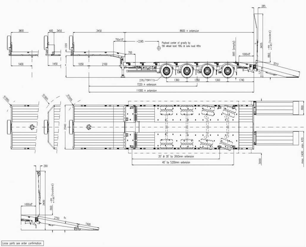 semi dieplader oplegger Faymonville Maxtrailer 4-Achs-Tele-Semi-Auflieger mit hydraul. Rampen