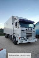 koelwagen vrachtwagen Scania R 113M 380 6X2 26 ton cold room left hand drive. 1992