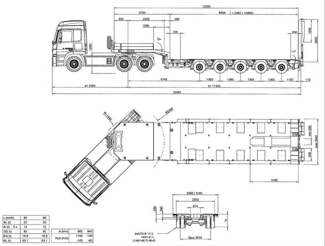 semi dieplader oplegger Goldhofer 5-Achs-Tele-Semi mit hydr. Rampen 2020