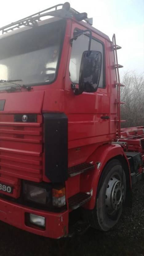 driezijdige kipper vrachtwagen Scania 113-360  6x2, Containerabroller, Manual 10 tyres 1992
