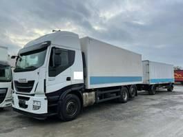 bakwagen vrachtwagen Iveco Stralis 460E6 6x2 Lenkachse Durchlader +Anhänger