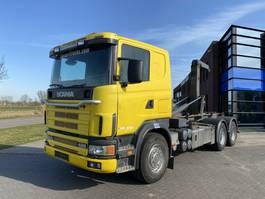 containersysteem vrachtwagen Scania 124L420 Hook / 6x4 / Manual / Full Steel 1999