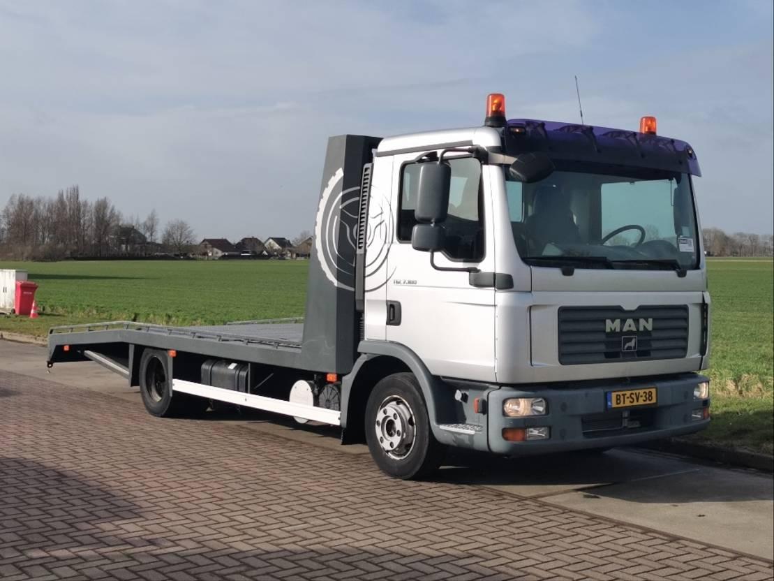 autotransporter vrachtwagen MAN 7.180 bl airco tijhof 2008