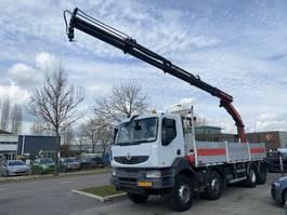 open laadbak vrachtwagen Renault Kerax 410 8X4 MANUAL FULL STEEL + PALFINGER PK20002 MET REMOTE 2009
