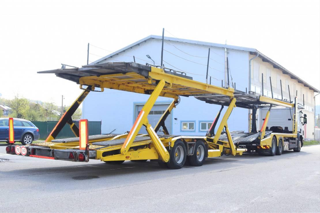 autotransporter vrachtwagen Scania P400 E5 6x2 Komplett Zug Anhänger Retarder 2013