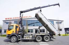 kipper vrachtwagen > 7.5 t Renault Kerax 380 , E5 , 6x4 , 120k km , 2way tipper , Cran Hiab , REMOT 2012