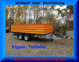 kipper bedrijfswagen <3.5 t Möslein TTD11- BA Orange Tandem Kipper Tiefladermit Bordwand- Aufsatz-- Neufahrz... 2021