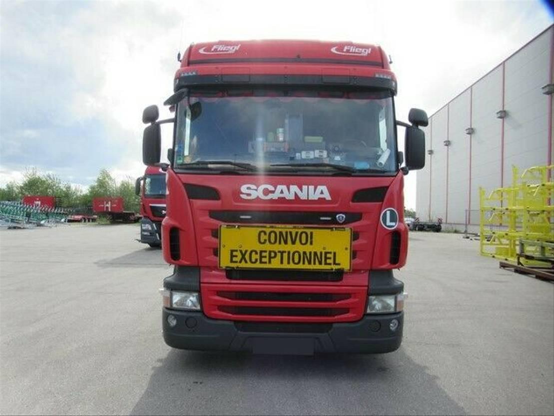 takelwagen-bergingswagen-vrachtwagen Scania R420 Pritsche mit absenkbarem Plateau 2011