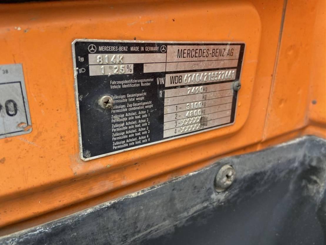 driezijdige kipper vrachtwagen Mercedes-Benz 814K 3 Way Meiller kipper + Palfinger PK5200 A (Only 179552km) 1990