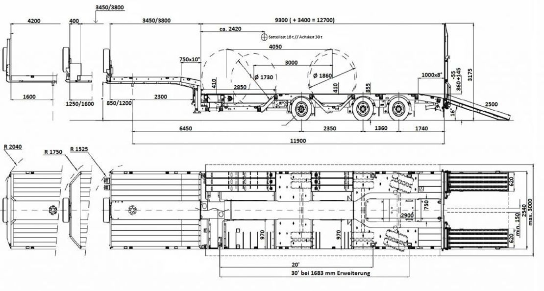 semi dieplader oplegger Faymonville Maxtrailer 3-Achs-Tele-Semi 2 Paar Radmulden Federhebewerksrampen