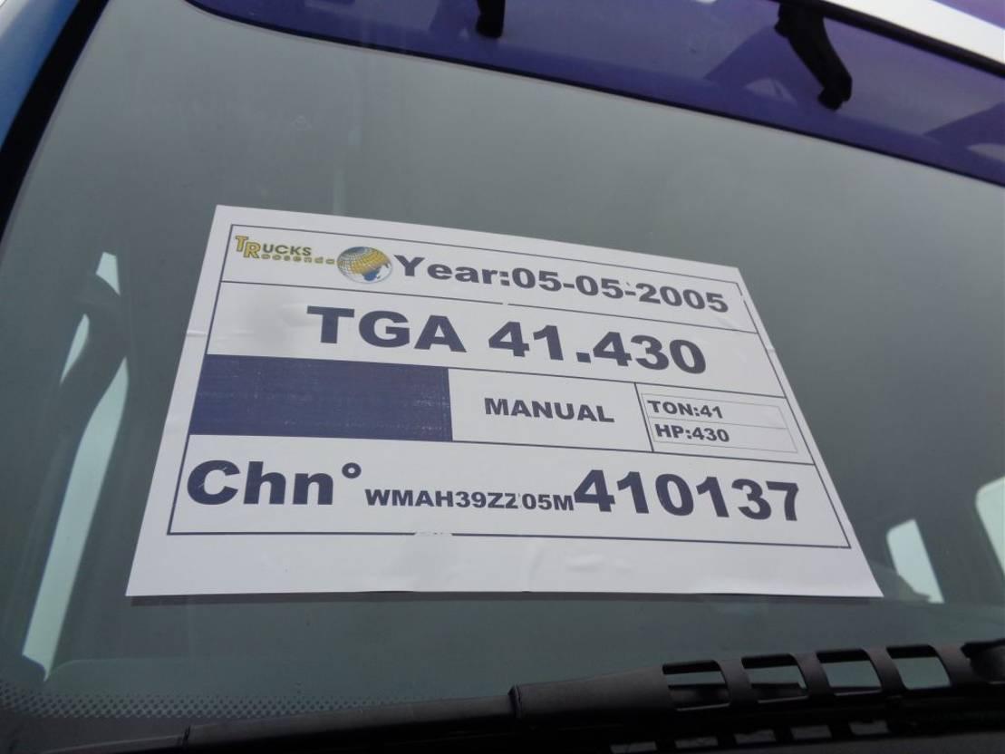 platform vrachtwagen MAN TGA 41 + Manual + PTO + 8X4 + blad-blad 2005