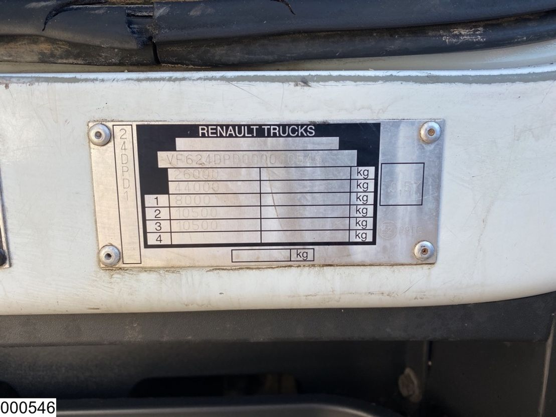 platform vrachtwagen Renault 370 6x4, Palfinger, Remote, Steel suspension, Manual 2008