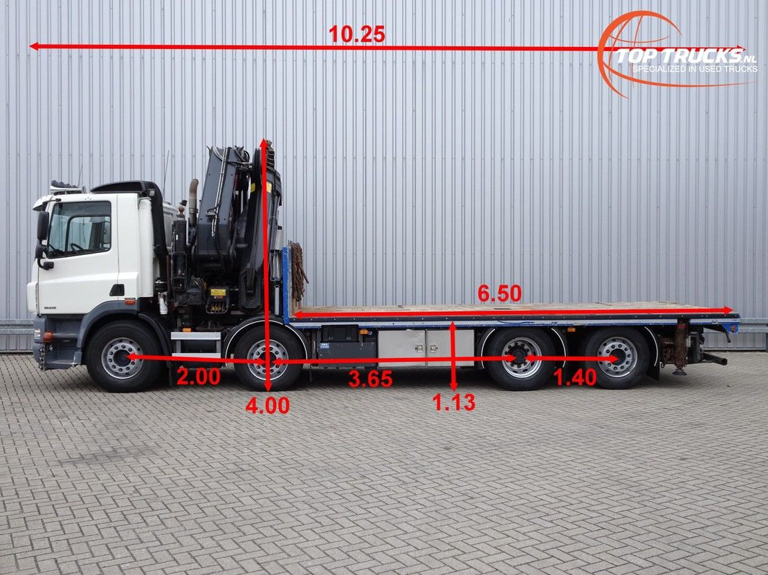 platform vrachtwagen DAF FAX CF85.410 8x2 - HIAB 70TM Kraan, Crane, Kran, Grue -Xtra funct. 2011