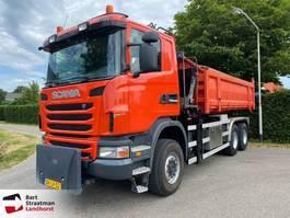 containersysteem vrachtwagen Scania G400 B 6X6 met HMF 1643 Z2 kraan 2010