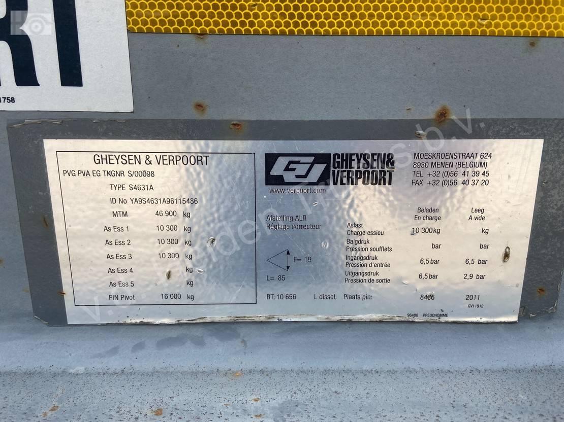 semi dieplader oplegger Gheysen en Verpoort   3 as Dieplader   Bladgeveerd   Oprijkleppen 2011