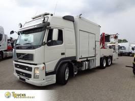 platform vrachtwagen Volvo FM 420 + Euro 5 + Road work + HMF 150 CRANE + 6x2 2010