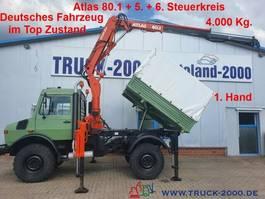 kipper vrachtwagen Unimog U1450 4x4 Atlas 80.1 Kran 5.&6. Steuerkreis 1.Hd 1999
