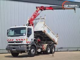 kipper vrachtwagen > 7.5 t Renault Kerax 320 DCI 26 6x4 - HMF 18TM Kraan, Crane, Kran, Grue - Kipper, Tipper, Benne 2003