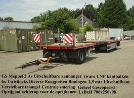 platte aanhanger vrachtwagen GS GS Meppel  2 As Open UItschuifbare aanhanger 2002