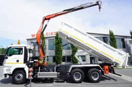 kipper vrachtwagen > 7.5 t MAN TGS 26 , E5 , 6X4 ,3 way tipper , bordmatic , Crane Fassi F1 2011