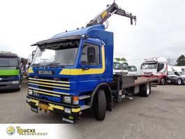platform vrachtwagen Scania 82M + Manual + Hiab Crane + Blad-Blad + adjustable deck lift + winch 1984