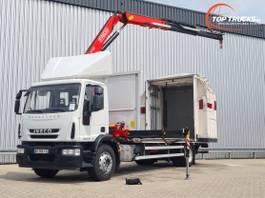 schuifzeil vrachtwagen Iveco EuroCargo 190 EL28 15TM Kraan, Crane, Kran -Euro 6 - Schuifkap, Slide Hood, Schiebehau... 2015