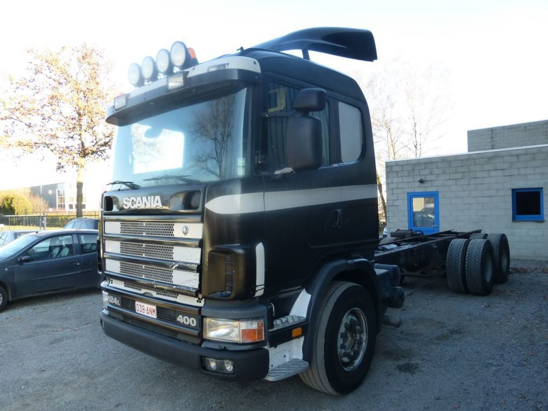 chassis cabine vrachtwagen Scania 124 400  6x2 10 roues/tyres 1998