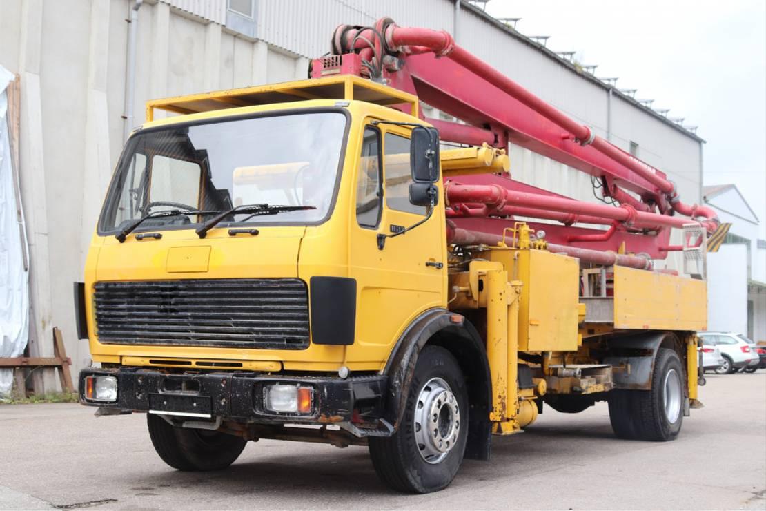 betonpomp vrachtwagen Mercedes-Benz 1617 RHD Schwing KVM 26 22-125 26m 1990