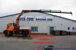 platform vrachtwagen Unimog U400 4x4 Kran PK12502 Funkfernbedienung Klima 2005