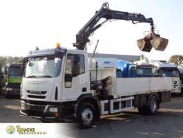 platform vrachtwagen Iveco EuroCargo 160 E25 + Manual + tipper Crane Hiab XS 099E + remote 2008