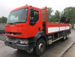 open laadbak vrachtwagen Renault Kerax 320 flatbed 6x4 full steel- manual gearbox- crane hiab 16t/m with remote 2004